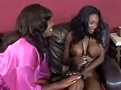 Black Busty Milf Candice Von And Her Spoiled Ebony Kooky Get Naughty On Sofa
