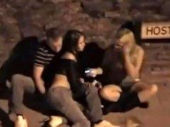 Two Drunk Girls On Footpath Fingured By Her Boyfriend Filmed From Window