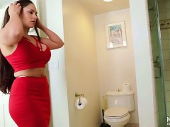 Huge Boobed Cougar Sucking Massive Dick In A Bathroom