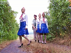 Girls In Uniform Have A Piss Soaked Group Sex Scene Outdoors