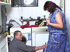 German Granny Fucks The Handyman Hardcore After Blowing His Boner
