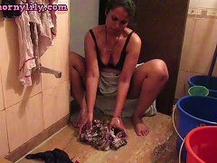 Sexy Indian Babe Bhabhi Lily Washing Undergarments Porn 46