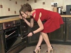 Woman In A Red Dress Wants To Be Fucked Hard In A Kitchen